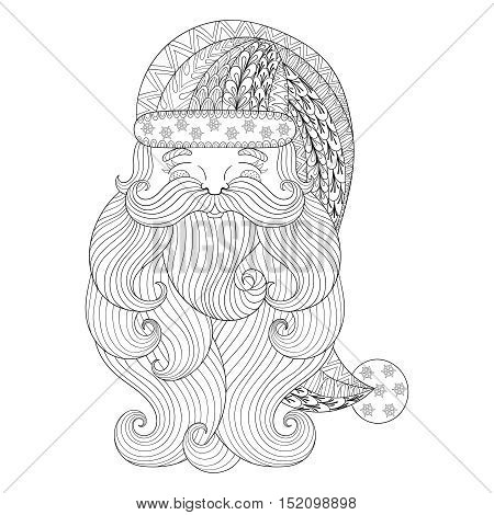 Fancy Santa in zentangle style. Freehand ethnic Xmas sketch for adult coloring book. Ornamental artistic vector illustration for Merry christmas cards. New Year 2017 collection.