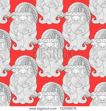 Fancy Santa red seamless pattern, zentangle. Freehand ethnic Xmas sketch for adult coloring book. Ornamental artistic vector illustration for Merry christmas cards. New Year 2017 collection.