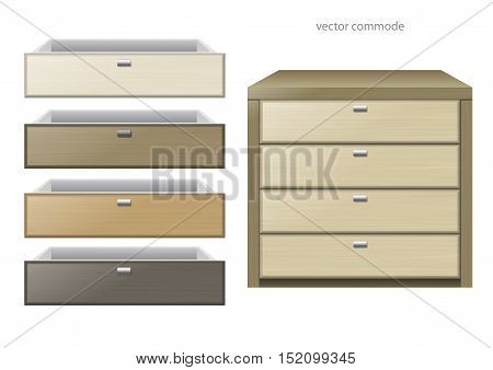 Front chest and different boxes of different kinds of wood or chipboard colors. Vector graphics