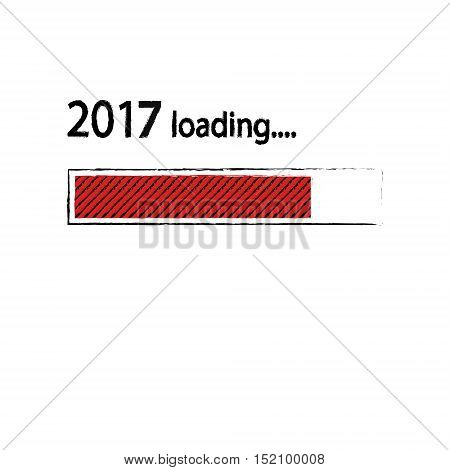 New year 2017 loading background, happy new year. Funny business concept: mail load. Red color. Space for your text