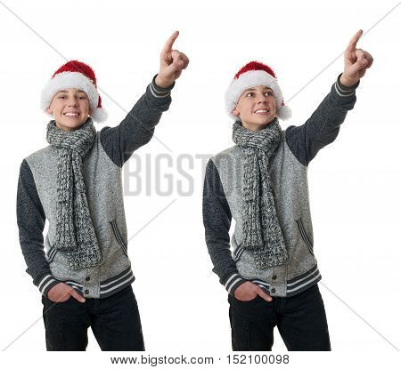 Set of cute teenager boy in gray sweater and christmas hat pointing up over white isolated background, half body