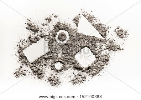 Geometry shape square triangle circle in scattered dust ash sand pile