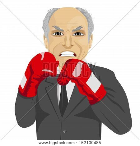 angry senior businessman with boxing gloves wearing a gray suit