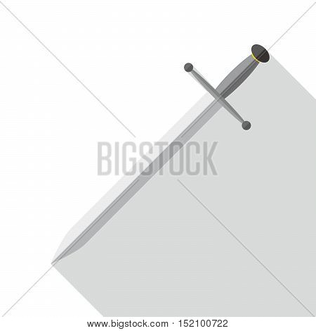 Two crossed swords in flat design with long shadow. Simple sword icon isolated. Vector illustration.