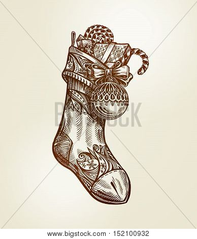 Christmas Sock with gifts. Vintage vector Illustration