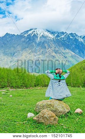 The scenic views and fresh air in Kazbegi National Park help to relax and forget about tiredness Georgia.