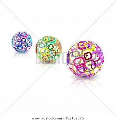 Logo design. Three Sphere shapes concept. Vector EPS10 illustration
