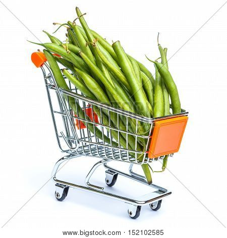 mini shopping cart full with green beans isolated on white background