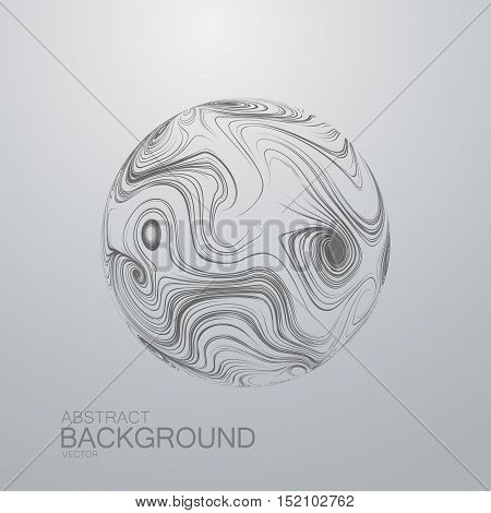 Abstract 3D sphere with swirled curl stripes. Vector vintage illustration of swirled and curled stripes background. Marble or acrylic texture imitation.