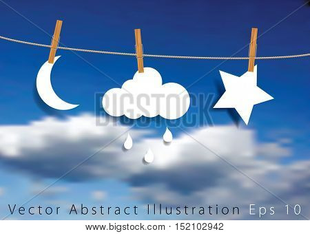 vector original symbolic abstract illustration with moon, cloud with rain and star on rope, realistic vector background