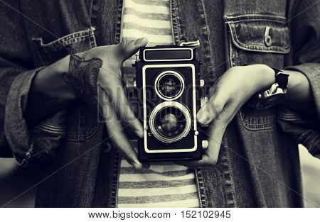 Vintage Camera Photographer Focus Shooting Concept