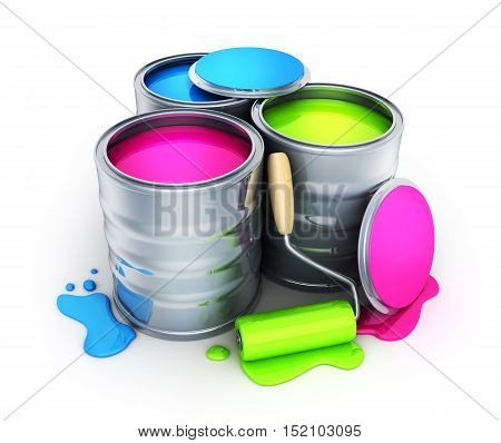 Tins with Paint on white background (done in 3d rendering)