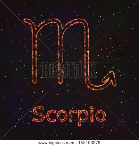 Astrology Shining Symbol. Horoscope Sign. Zodiac Scorpio.