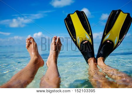 Snorkelers relaxing on the beach
