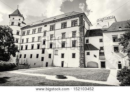 Gothic castle of Jindrichuv Hradec Czech republic. Architectural scene. Travel destination. Beautiful place. Black and white photo.