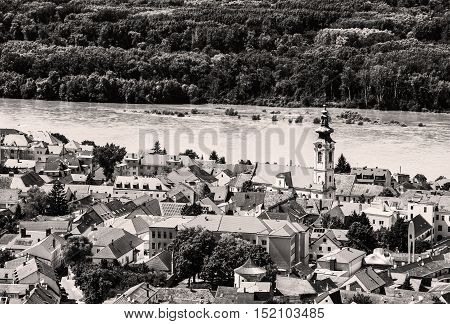 Hainburg an der Donau and Danube river from Schlossberg Austria. Travel destination. Beautiful place. Black and white photo. Cultural heritage.