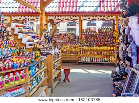 MOSCOW RUSSIA - MAY 10 2015: The Izmailovsky Market is the best place to choose matryoshka doll for each taste and price on May 10 in Moscow.