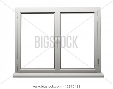 two frame plastic window isolated
