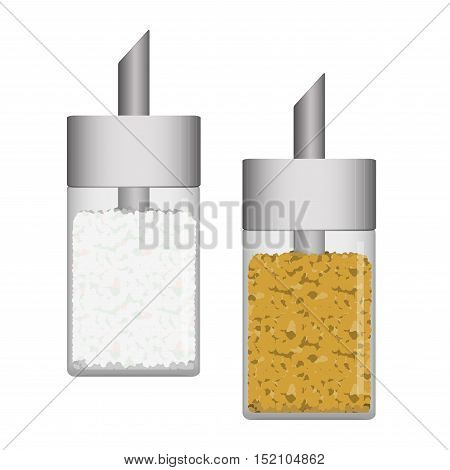 Vector illustration of white and brown sugar in glass sugar dispenser.