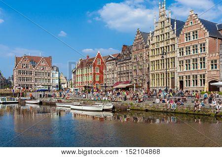 Ghent, Belgium - April 6, 2008: Tour Boats And Graslei Street