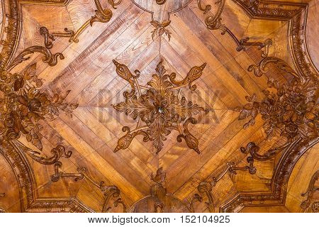 Wood Roof Detail At The Regaleira Palace Interior In Sintra