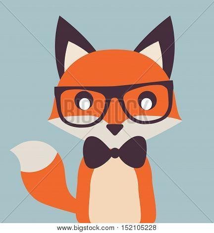 Vintage Cute Fox Illustration Flat Vector Stock - Gentleman Fox With Papillon -
