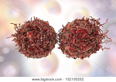 Prostate cancer cells on background with cells, 3D illustration