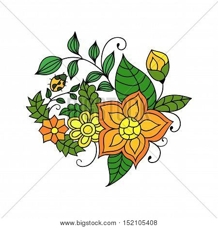 Colorful zentangle floral doodle sketch. Orange and yellow flowers and leaves vivid tattoo sketch. Ethnic tribal floral illustration