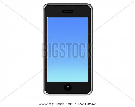modern mobile phone isolated on white - front projection