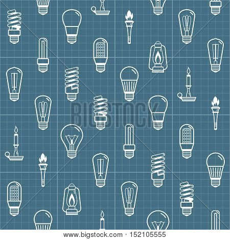 White lamp bulb silhouettes seamless background. Vector illustration
