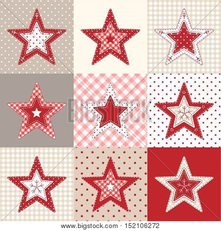 Set of red and blue patchwork decorative stars, christmas decorative elements, vector illustration