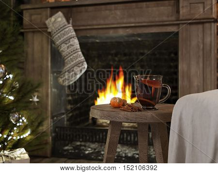 3D RENDERING hot winter tea and background with fireplace