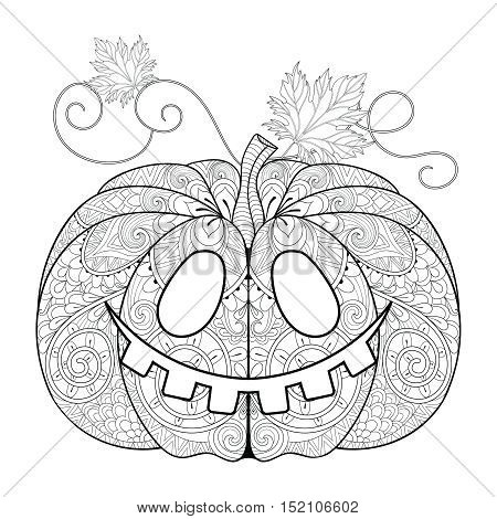 Zentangle stylized Pumpkin face for Halloween, Thanksgiving day with artistically doodle elements. Ethnic ornamental vector illustration for tattoo, t-shirt print, adult coloring book, greeting card.