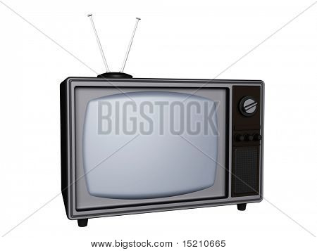 3d old retro tv with antenna isolated on white