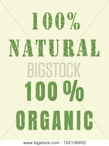 Ecology design. The word 100 organic nature is made of grass. Environmental concept for advertisement healthy food, ecological products, lifestyle, etc. Vector illustration. Vertical