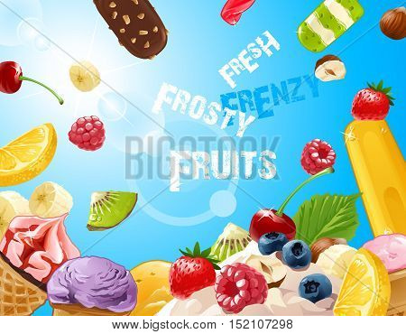 Vector background delicious ice cream with strawberries, raspberries, blueberries, banana, kiwi, lemon, nuts and chocolate