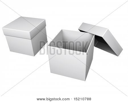 two gray boxes isolated on white