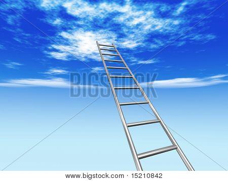 chrome stair to blue sky