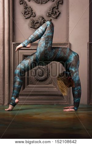 Blonde Girl In Blue Overalls