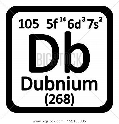 Periodic table element dubnium icon on white background. Vector illustration.