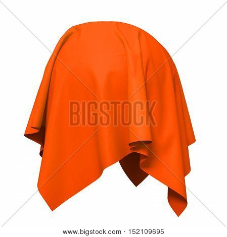 Sphere covered with orange silk fabric. Isolated on white background. Surprise, award, prize, presentation concept. Reveal the hidden object. Raise the curtain. 3d illustration.