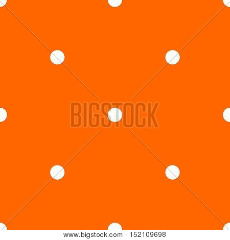 Tile vector pattern with white polka dots on orange background