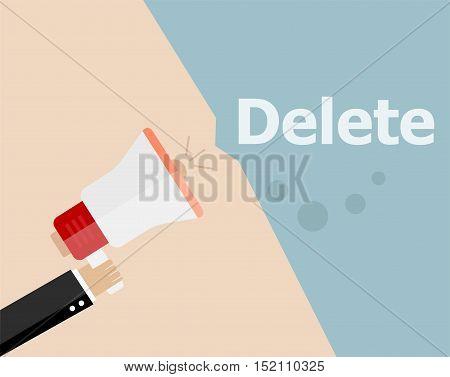 Flat Design Business Illustration Concept. Delete Digital Marketing Business Man Holding Megaphone F