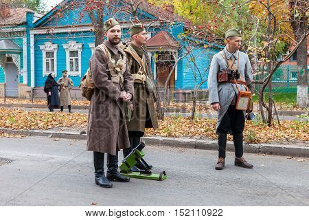 SAMARA RUSSIA - OCTOBER 15 2016: Reenactment the armed actions of the Czechoslovak Legion in the Russian Civil War against Bolshevik authorities in 1918