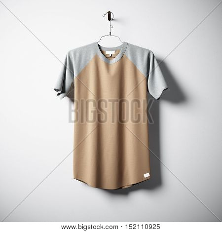 Blank multicolor cotton tshirt hanging in center of empty concrete wall. Clear label mockup with highly detailed textured materials. Square. Front side view. 3D rendering
