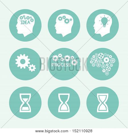 Processes blue icon set, flat design. Vector illustration