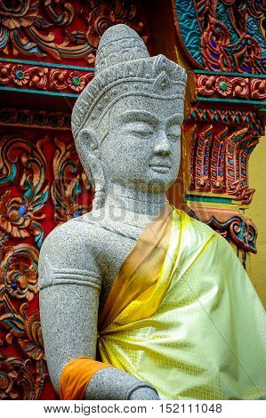 Khmer style goddess statue in Thailand Buddhist temple