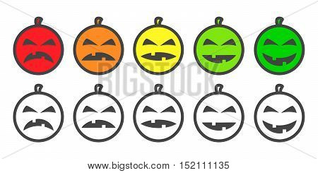 Halloween Pumpkin color Emoji icons, emoticons for rate of satisfaction level. Five grade smileys for using in surveys. Colored and outline icons. Isolated vector illustration on white background