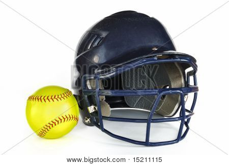 Helmet And Yellow Softball