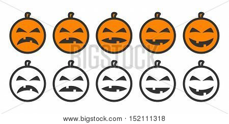 Halloween Pumpkin Emoji icons, emoticons for rate of satisfaction level. Five grade smileys for using in surveys. Colored and outline icons. Isolated vector illustration on white background